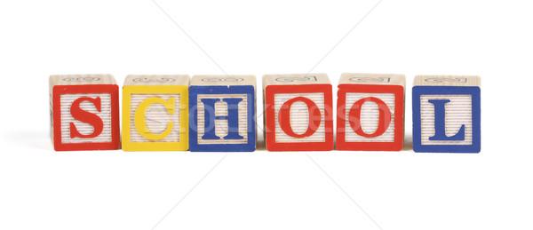 Iskola ábécé kockák izolált felfelé varázsige Stock fotó © klikk