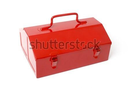 Rosso retro cassetta degli attrezzi isolato metal bianco Foto d'archivio © klikk