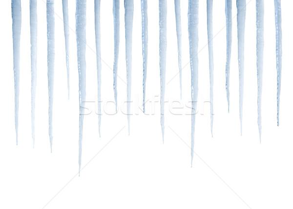 Real icicles isolated on white Stock photo © klikk