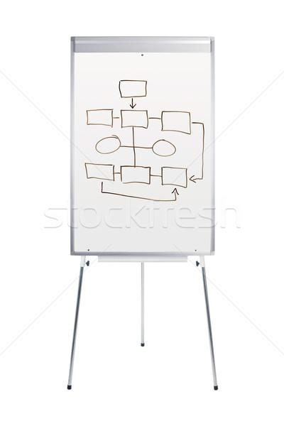 Foto stock: Stand · diagrama · de · flujo · aislado · blanco · tabla