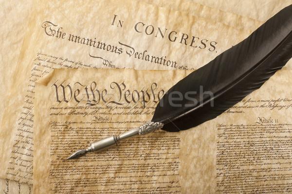 Közelkép alaptörvény Egyesült Államok Amerika toll törvény Stock fotó © klikk