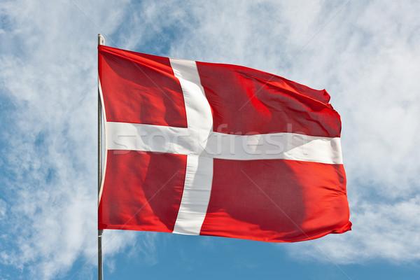 Zászló Dánia repülés szél nyár égbolt Stock fotó © klikk