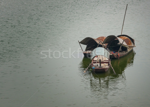 Three sampans on the Red River. Stock photo © Klodien