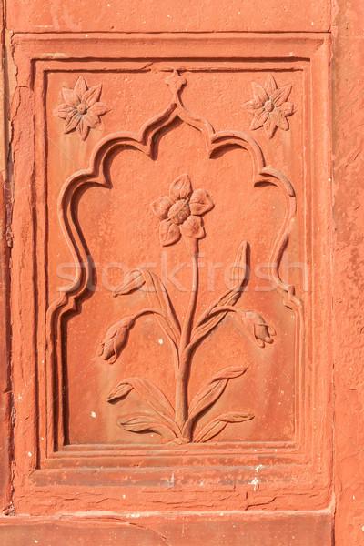 Doubler fleur rouge grès carré paon Photo stock © Klodien