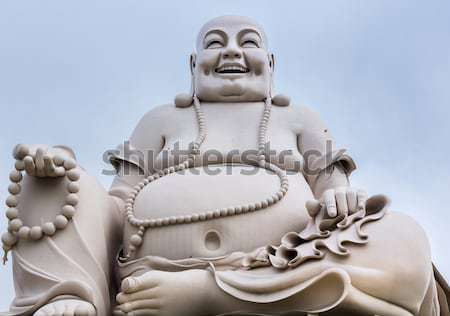 Portrait - Massive white sitting Buddha statue isolated from dec Stock photo © Klodien