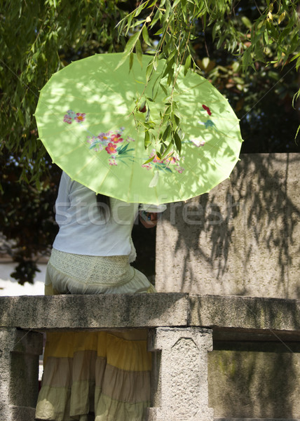 Eenzaam dame paraplu romantische dacht wachten Stockfoto © Klodien