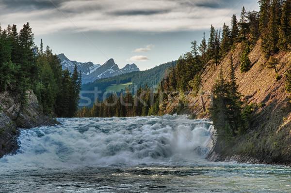 Rapide rivière coucher du soleil Canada jouer eau Photo stock © Klodien