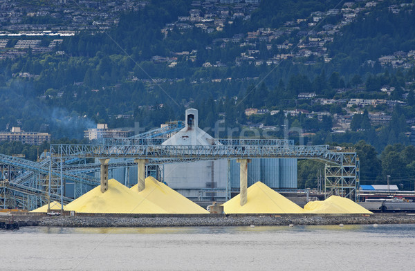Yellow mountains of sulfur to be shipped out of Vancouver port ( Stock photo © Klodien