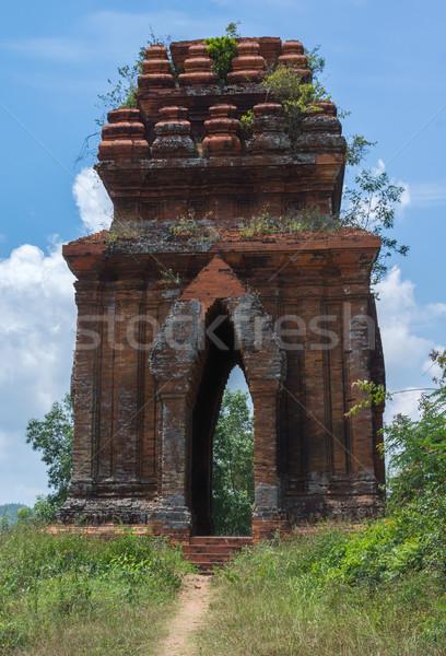 Naar een Vietnam Blauw baksteen Stockfoto © Klodien