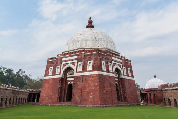 Stock photo: Close up of Ghiyathu'd-Din tomb with white dome in New Delhi.