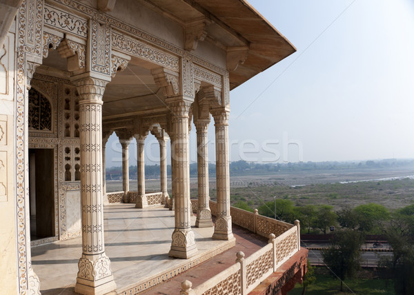 Columned viewing point outside royal chambers at Agra Fort Palac Stock photo © Klodien