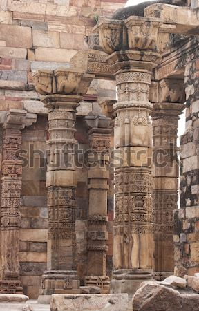 Groep permanente kolommen Delhi ruïneren bidden Stockfoto © Klodien