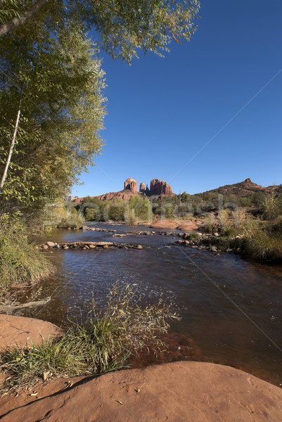 Oak Creek and Cathedral rock in distance near Sedona. Stock photo © Klodien