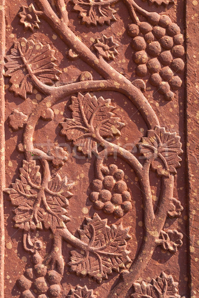 Stock photo: Mural sculpture of grape vines in red standstone at Fatehpur Sik