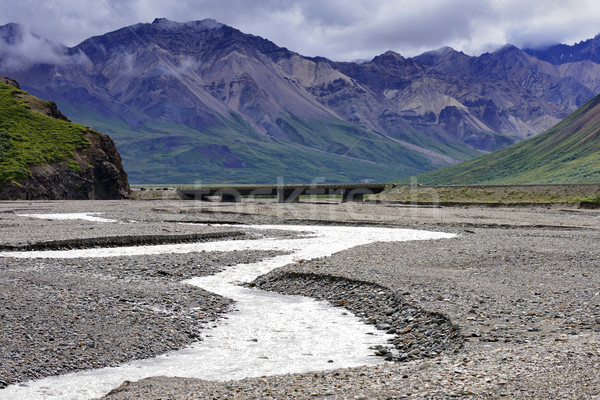 Big river reduced to small meander creek in the summer at Denali Stock photo © Klodien