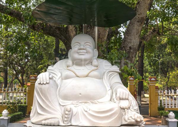 Large white Buddha statue at Giac Lam Pagoda in Saigon. Stock photo © Klodien