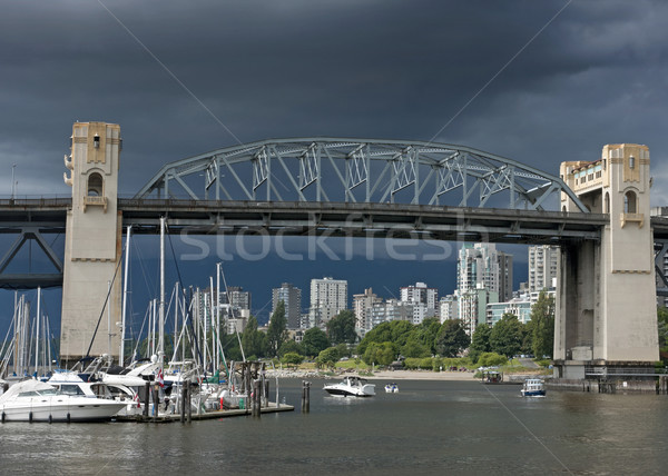 Historic Burrard bridge in Vancouver (Canada) under dark stormy  Stock photo © Klodien