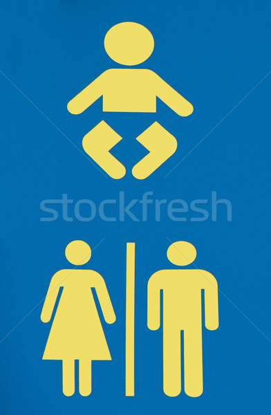 Toilettes signe bébé enfant bleu salle de bain Photo stock © Klodien
