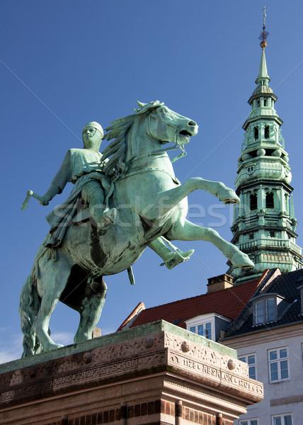 Copenhague cheval bleu statue centre-ville Photo stock © Klodien