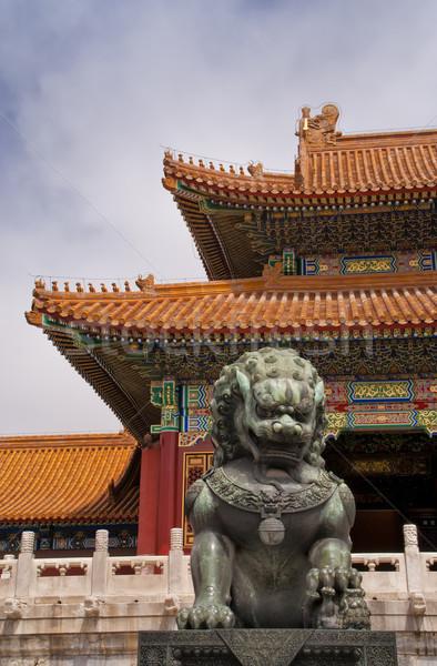Peking tiltott város oroszlán sarok tető égbolt Stock fotó © Klodien