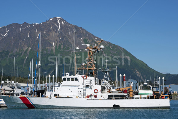 Seward Alaska - July 2011 - US Coast Guard vessel in the harbor. Stock photo © Klodien