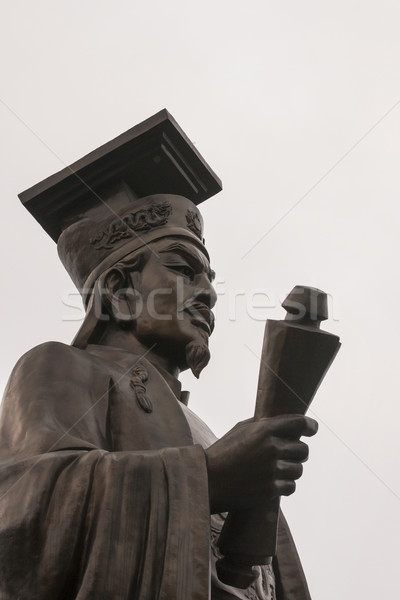 Close up of Ly Thai To statue - his head. Stock photo © Klodien