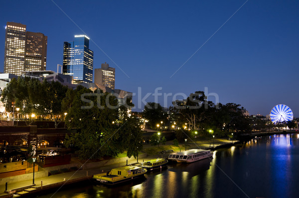 Melbourne yarra river at night Stock photo © Klodien