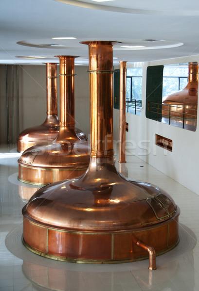 Ligne trois brasserie brillant cuivre utilisé Photo stock © Klodien