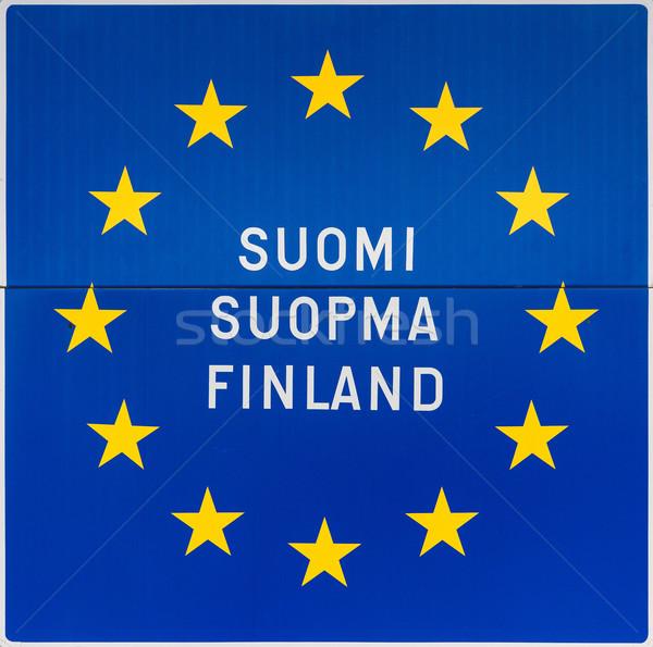Européenne signe nom Finlande trois langues Photo stock © Klodien