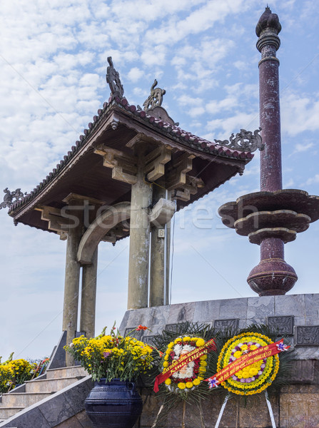 Vietnam Quang Tri Citadel: focus on the column and gate of war memorial. Stock photo © Klodien
