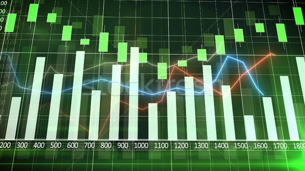 Sales bar chart with a green background. Abstraction. Stock photo © klss
