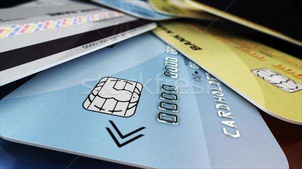 Cartão de crédito poucos plástico cartões preto 3D Foto stock © klss