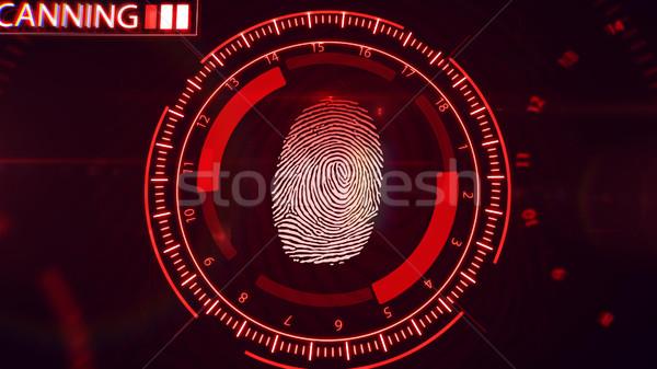 отпечатков пальцев технологий 3D красный цвета Сток-фото © klss