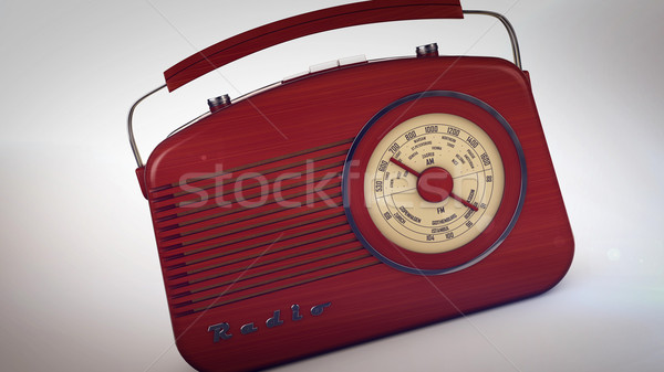 Retro portable radio on white. Stock photo © klss