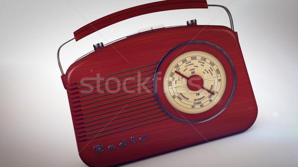 Foto stock: Retro · portátil · rádio · branco · 3D