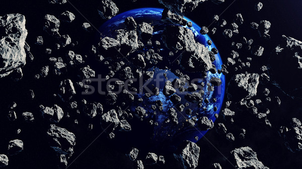 Asteroids Closing to the Earth Planet. Apocalypse Concept. Stock photo © klss