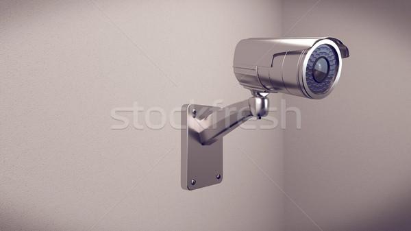 Zdjęcia stock: Aparatu · bezpieczeństwa · ściany · 3D · cctv · kamery