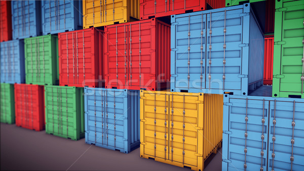 Stack of Cargo Containers at the docks Stock photo © klss