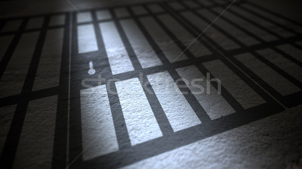 Jail cells bars casting shadows on floor. Stock photo © klss