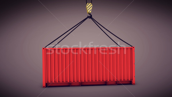 Sea container lifted by a harbor crane Stock photo © klss