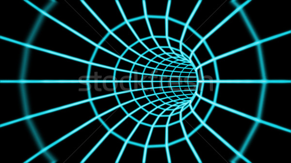 Abstract 3d tunnel from a grid.  Stock photo © klss