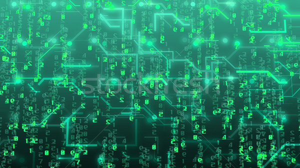 Circuit board and digital numbers. Stock photo © klss