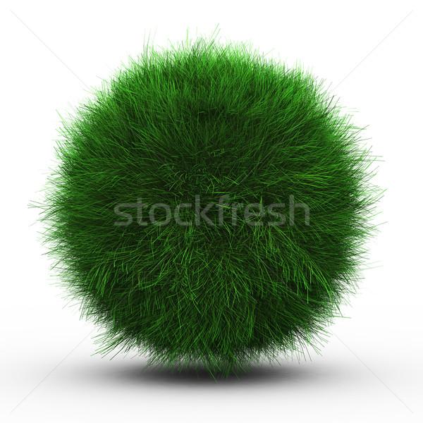 Stockfoto: 3d · render · groen · gras · bal · witte · hemel · voetbal
