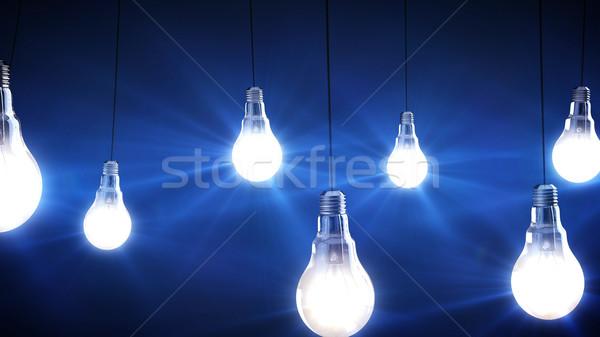 żarówki 3d czarny technologii szkła tle Zdjęcia stock © klss