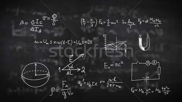Physical formulas on black Stock photo © klss