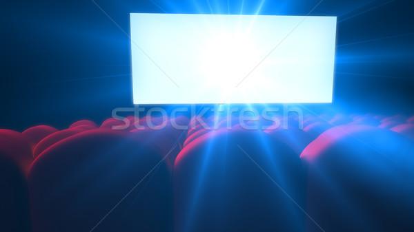 Boş modern sinema beyaz ekran Stok fotoğraf © klss