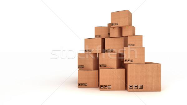 Carton cases isolé blanche navire cadeau Photo stock © klss