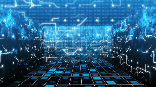 Streszczenie technologii 3d ilustracji numery płytce drukowanej imitacja Zdjęcia stock © klss