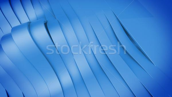 Abstract 3D ondulato band superficie blu Foto d'archivio © klss
