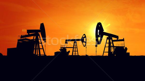 Oleju przemysł naftowy wyposażenie 3D budowy Zdjęcia stock © klss